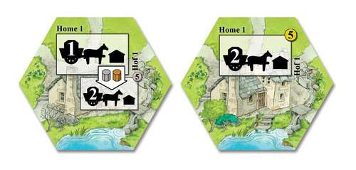 The homestead tiles: the tile on the left shows the initial power of the tile, what it takes to upgrade it and what the other side is.