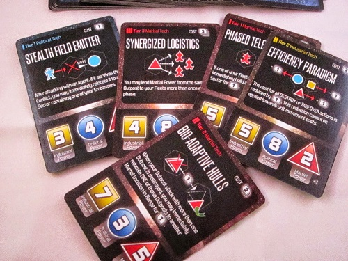 Hegemonic - The Tech cards - notice the combat values at the bottom