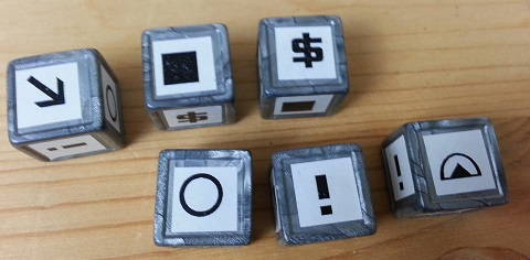 Tiny Epic Galaxies - the dice: from left to right Move; Energy; Investment; Culture; Diplomacy and Colony